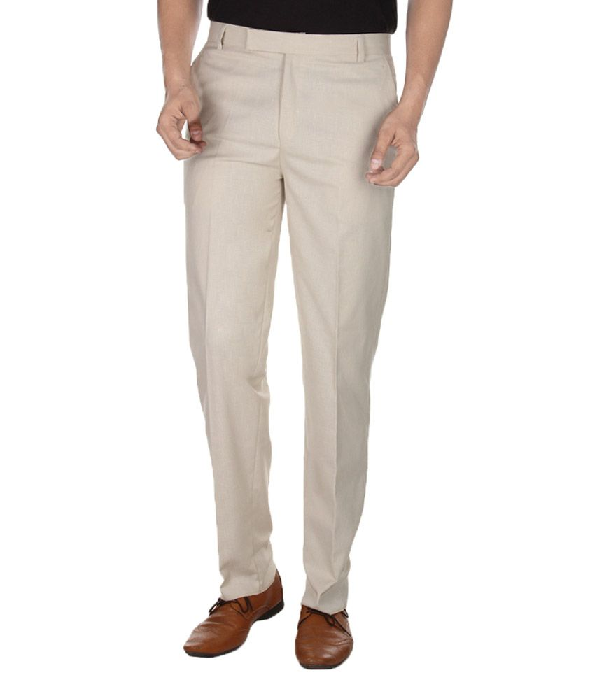 Havello Beige Regular Fit Formal Flat Trousers