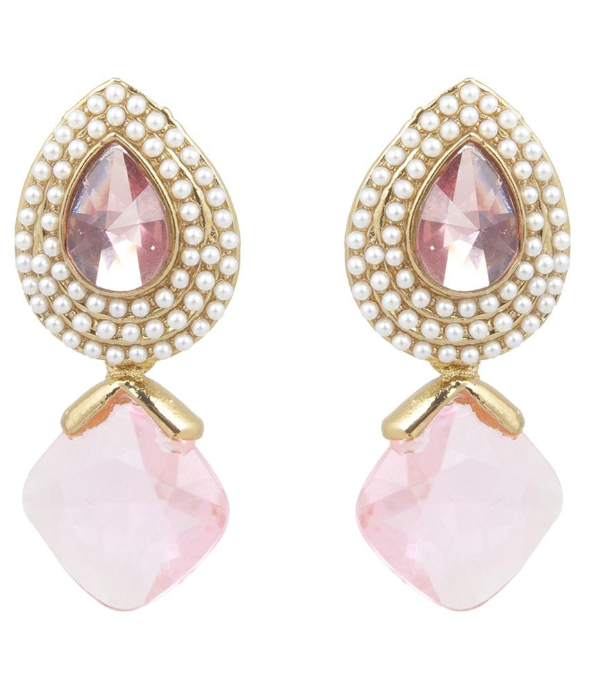 Inaya Pink Polki Studded Gold Plated Drop Earrings