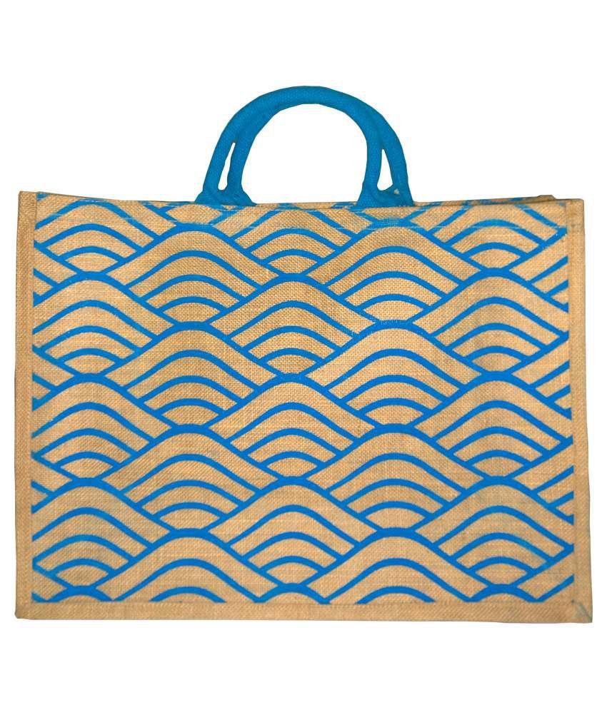 Saran Blue And Beige Jute Shopping Bag