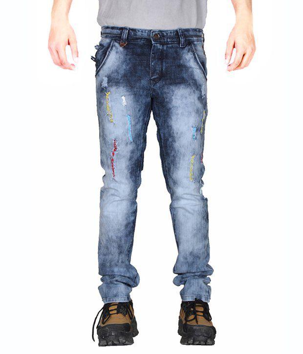 Active Blue Cotton Regular Fit Jeans