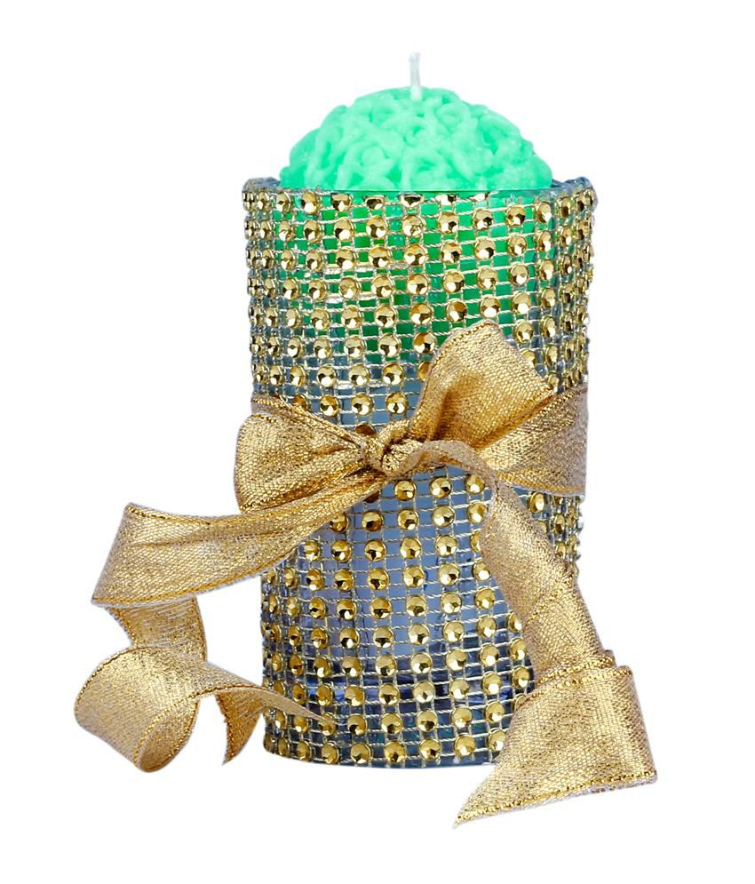 Cheercrafts Green Decorative Candle