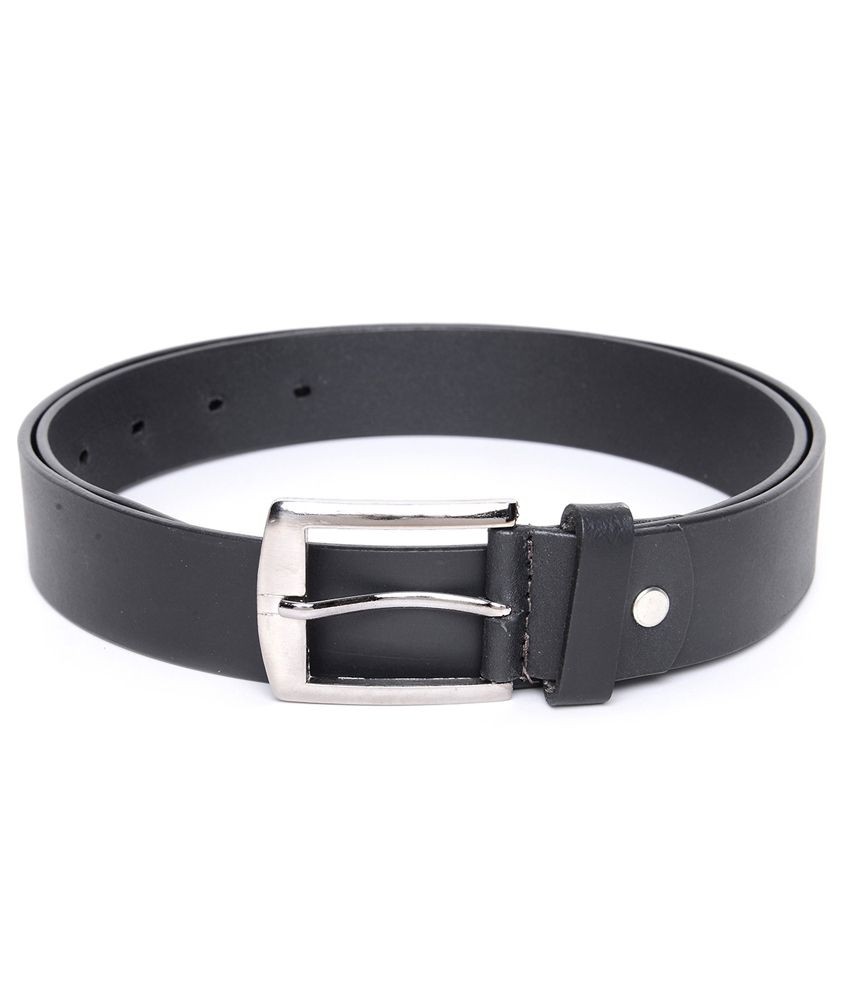 Fasaal Black Leather Pin Buckle Formal Belt For Men