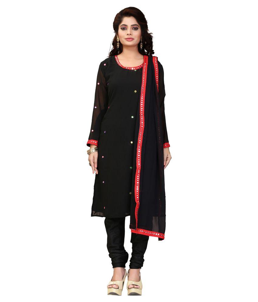 Kevalkumar Vinubhai Umletiya Black Georgette Straight Semi Stitched Dress Material