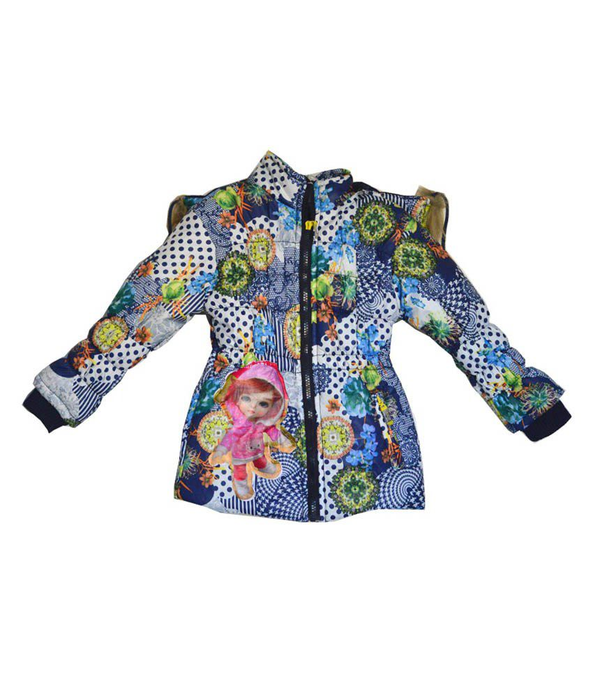London Girl Navy Blue Floral Hooded Jacket for Girls