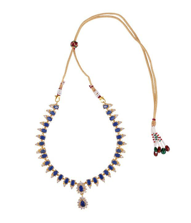 Makezak Blue Brass Necklace Set