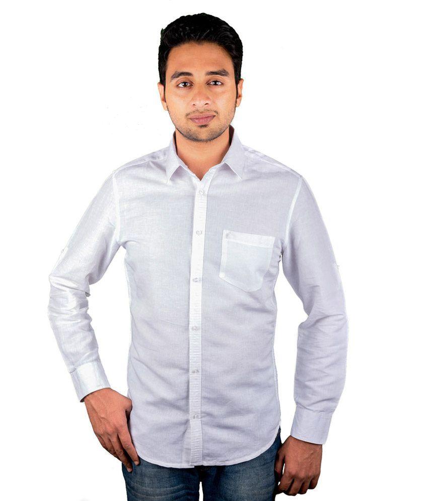 Peplos Linen Plain White Shirt - Buy Peplos Linen Plain White ...