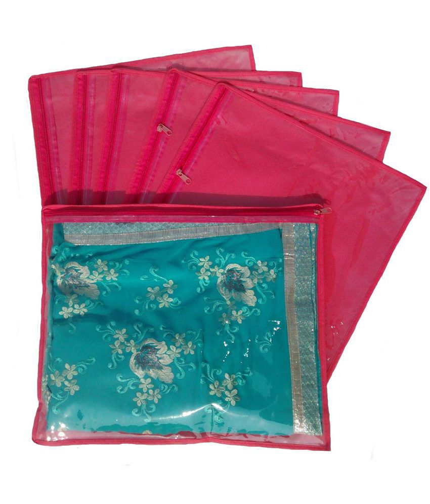Indi Bargain Pink Non Woven Saree Cover - Set of 6