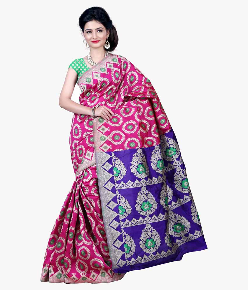 Indi Wardrobe Pink Silk Saree