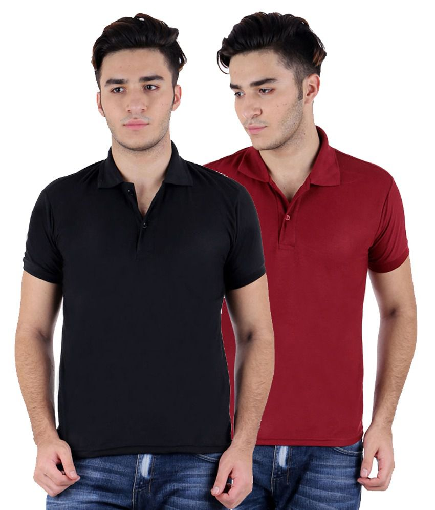 Rakshita's Collection Multicolour Cotton Polo T-Shirt - Set Of 2