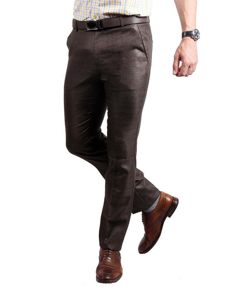 Solemio Brown Slim Fit Formal Flat Trouser