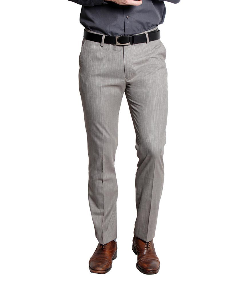Solemio Grey Slim Fit Formal Flat Trouser