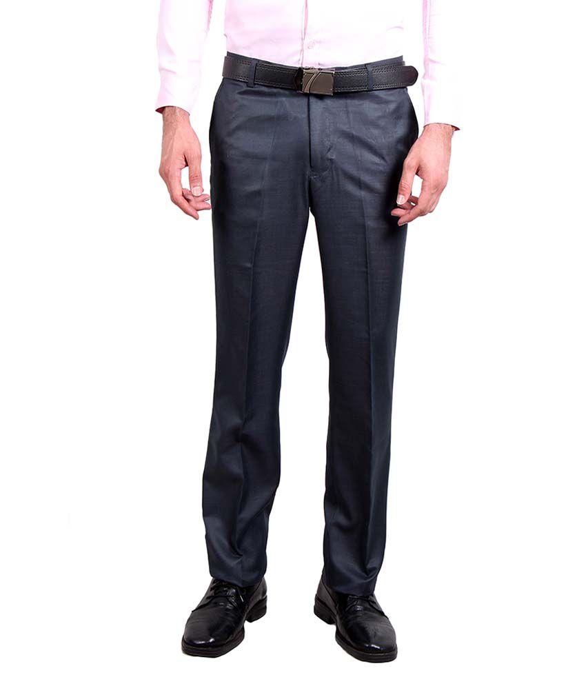 Solemio Navy Slim Fit Formal Flat Trouser