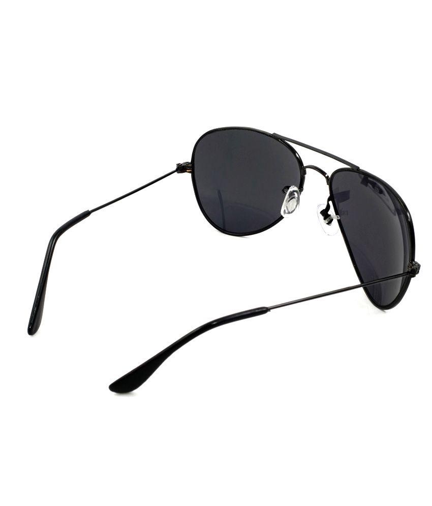 Dark Black Aviator Sunglasses  stylish dark black lense black frame aviator style uni