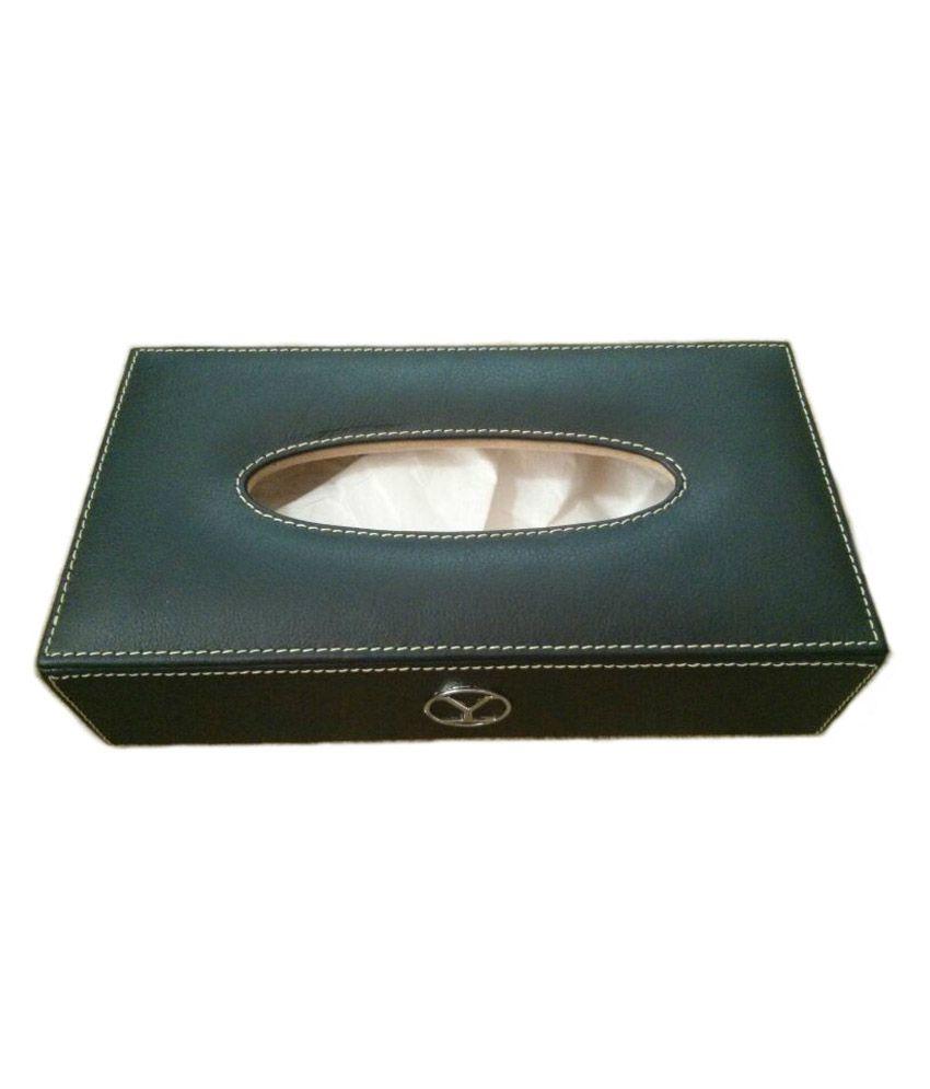 YStore Black Leather Tissue Box