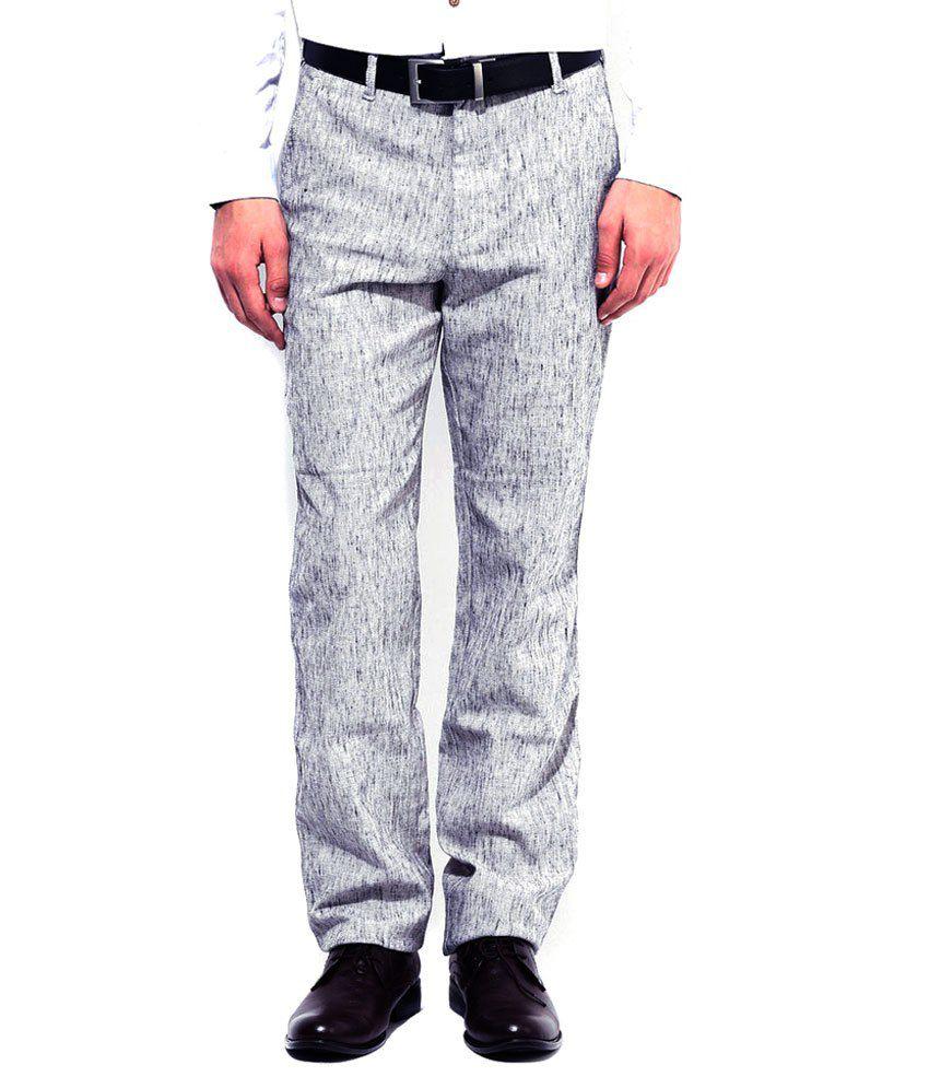 Ad & Av Grey Regular Fit Formal Trouser