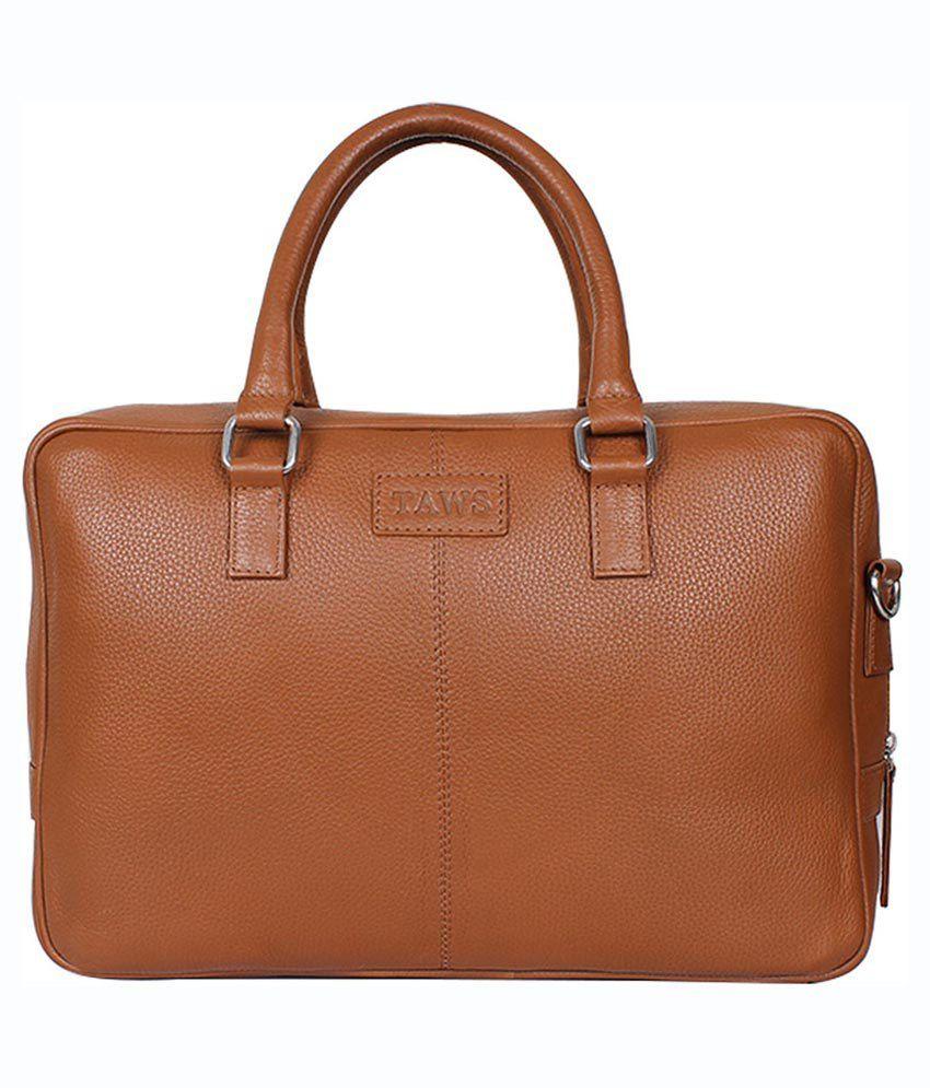 Taws Genuine Leather Tan Laptop Bag