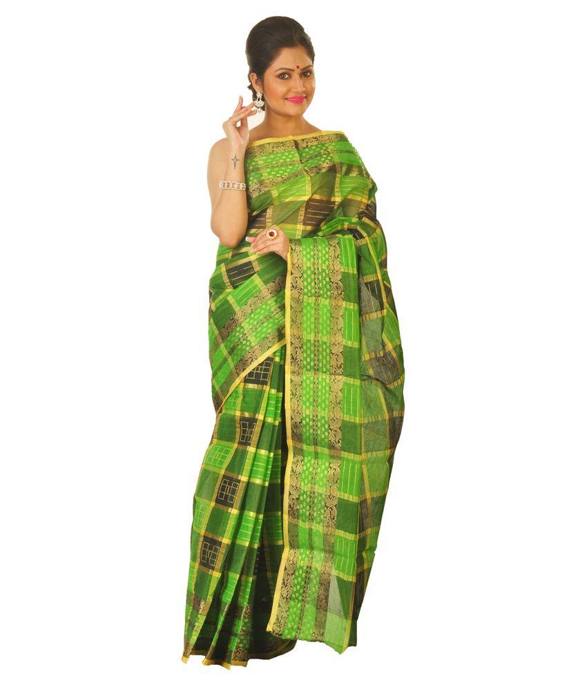 Loom&Crafts Green Cotton Bengal Tant Saree