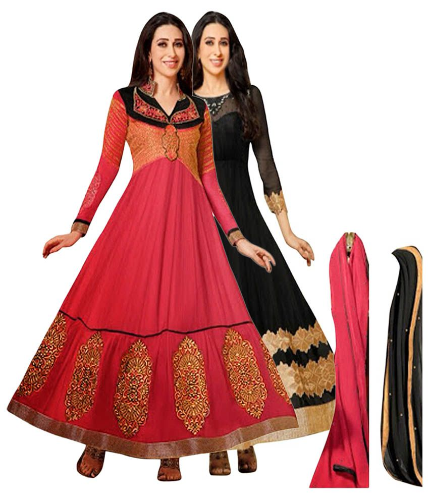 NM Textile Red & Black Semi Stitched Dress Material (Pack of 2)