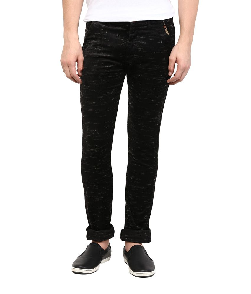 Urban Navy Black Skinny Fit Casual Chinos