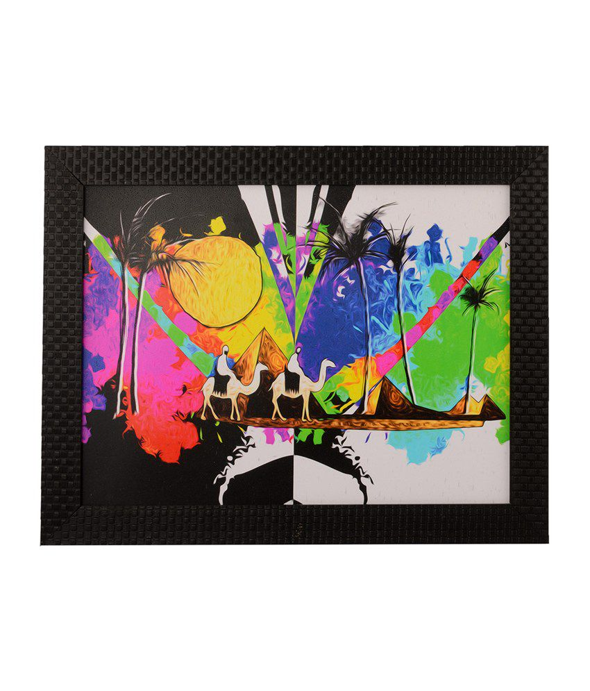 eCraftIndia Colourful Desert View with Satin Matt Texture and Framed UV Art Print