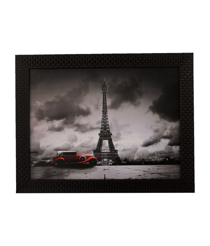 eCraftIndia Eiffel Tower with Satin Matt Texture and Framed UV Art Print