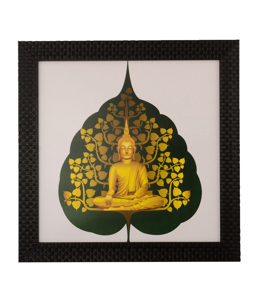 eCraftIndia Golden Spiritual Buddha with Satin Matt Texture and Framed UV Art Print