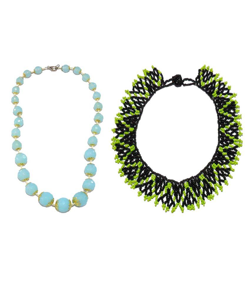 Beadworks Blue & Black Office Wear Necklace (Combo of 2)