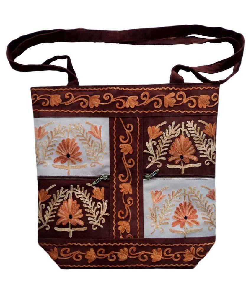 Creative Arts & Crafts Brown Leather Sling Bag