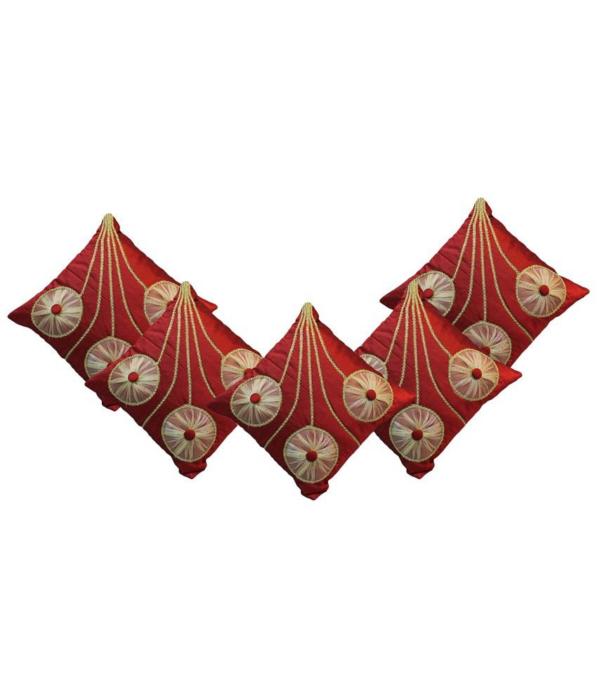 I Catch Pack of 5 Cotton Red and Beige Floral Cushion Covers