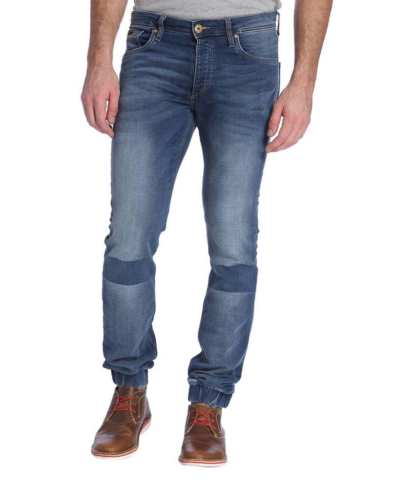 Jack & Jones Blue Cotton Slim Fit Men's Jeans