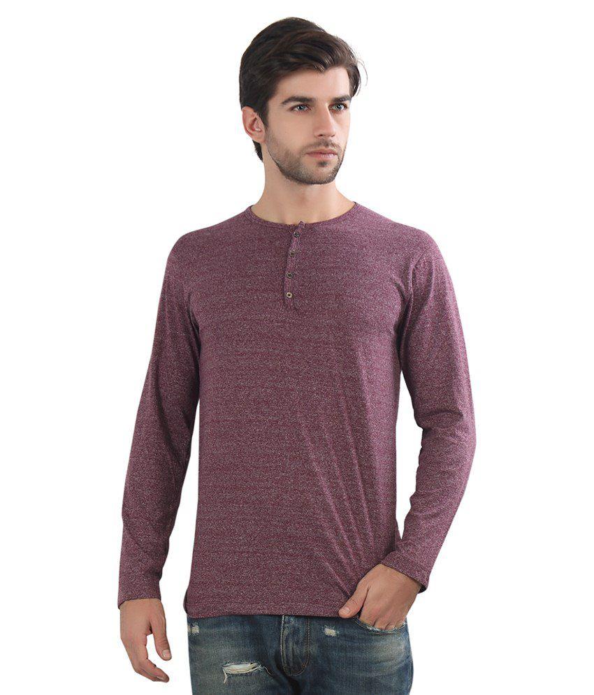 Maniac Maroon Cotton Blend T Shirt