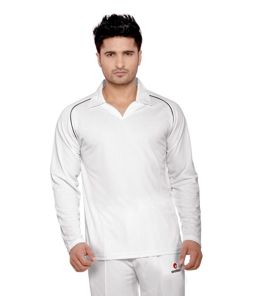 Omtex Full Sleeves Cricket Wear White T-Shirt