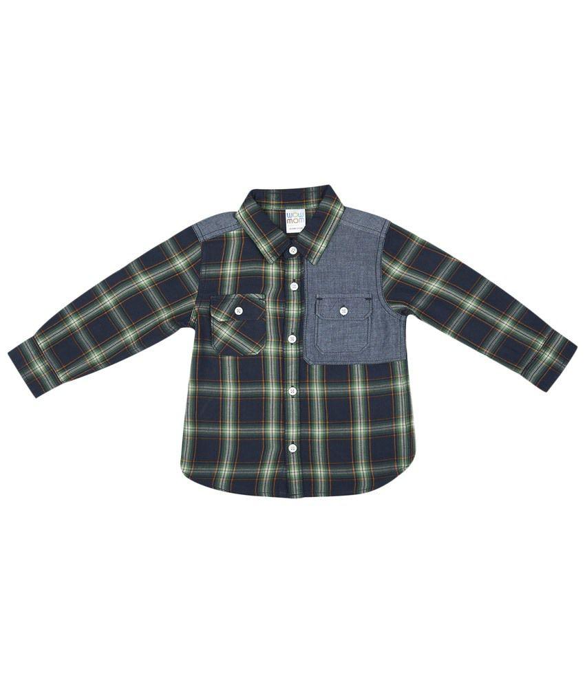 WowMom Blue & Green Checkered Full Sleeve Baby Shirt