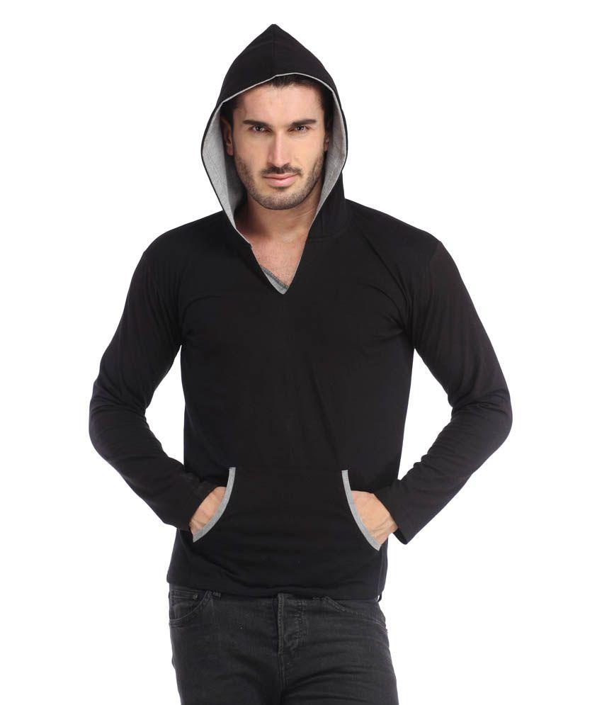 Leana Black Hooded Men Tshirt