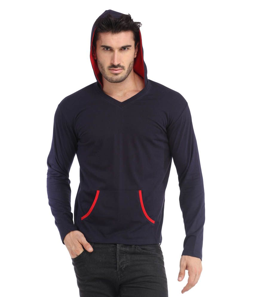 Leana Navy Hooded Men Tshirt