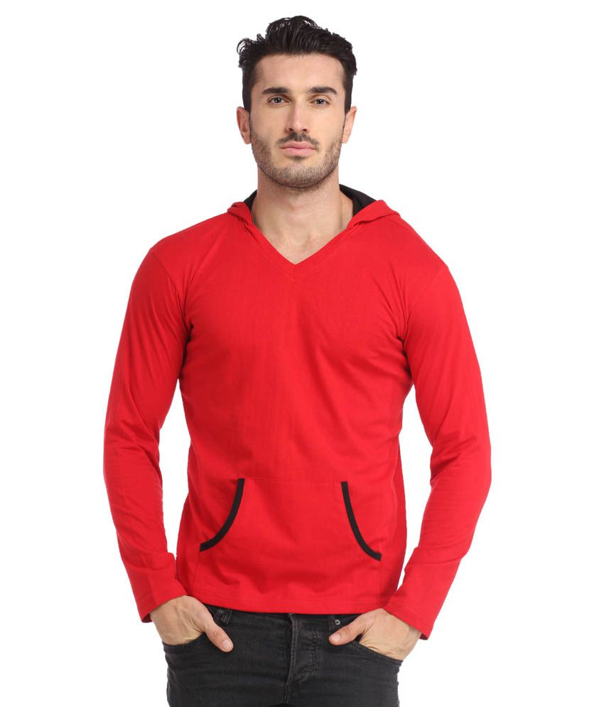 Leana Red Hooded Men Tshirt