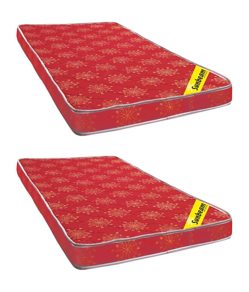 sunbeam red 3 inches foam mattress buy 1 one get one free buy