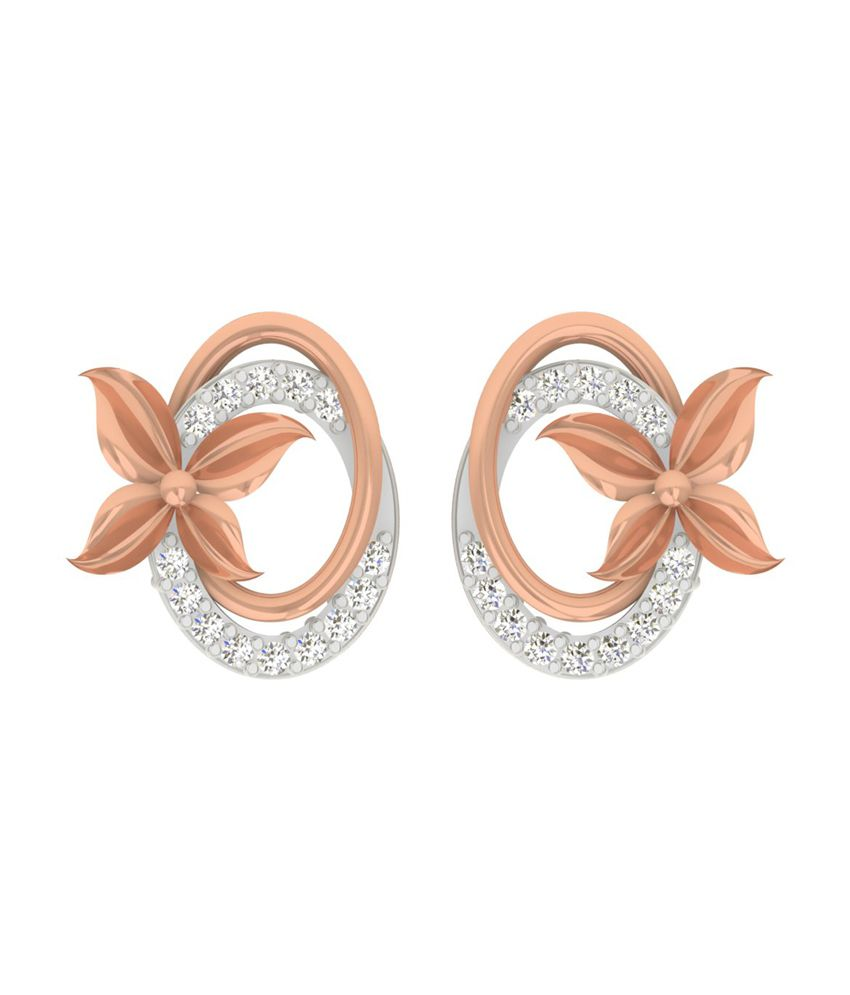 TBZ-The Original 18Kt Rose Gold Evening Wear Stud Earrings with 0.09cts Diamonds