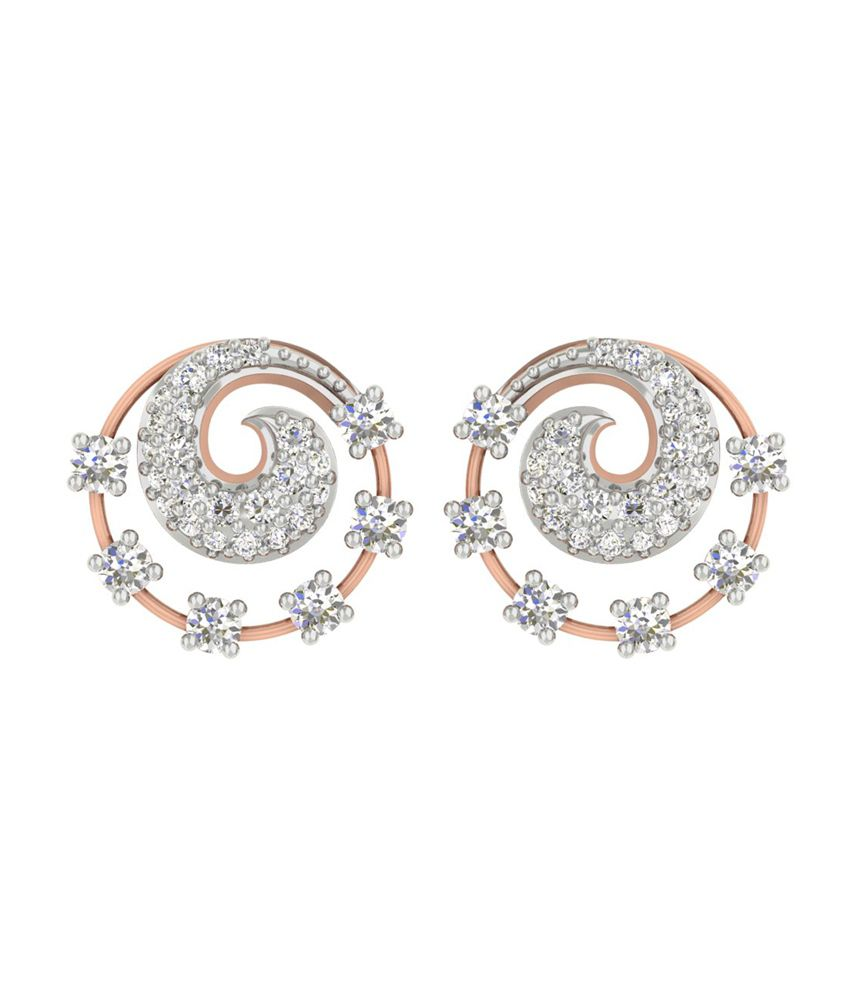 TBZ-The Original 18Kt Rose Gold Daily Wear Stud Earrings with 0.34cts Diamonds