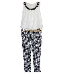 Arshia Fashions White And Grey Jumpsuit