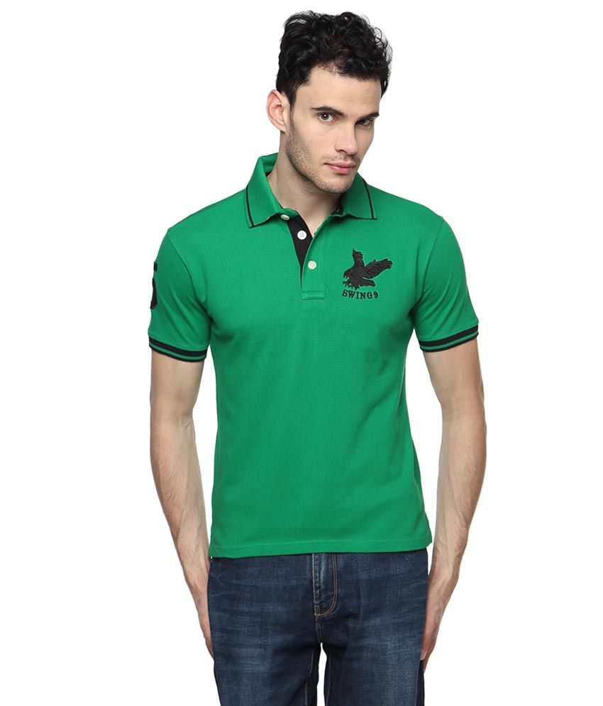 Swing9 Green Half Sleeve Basics Polo T-Shirt