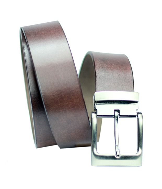99cells  Casual Brown Genuine Leather Unisex Belt