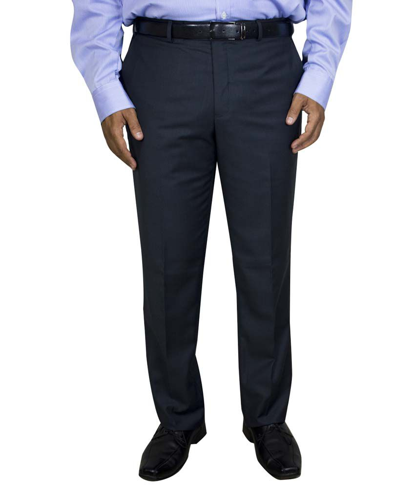 Kinger Blue Regular Fit Formal Flat Trouser