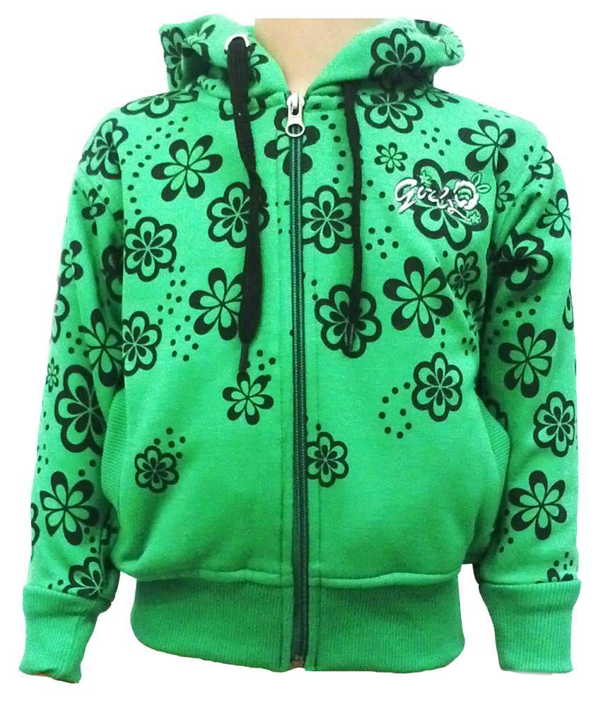 Come In Kids Green Fleece Sweatshirt With Hood