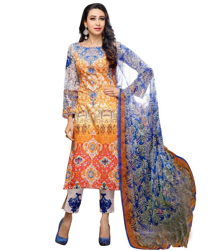 Shelina Multi Cotton Unstitched Dress Material