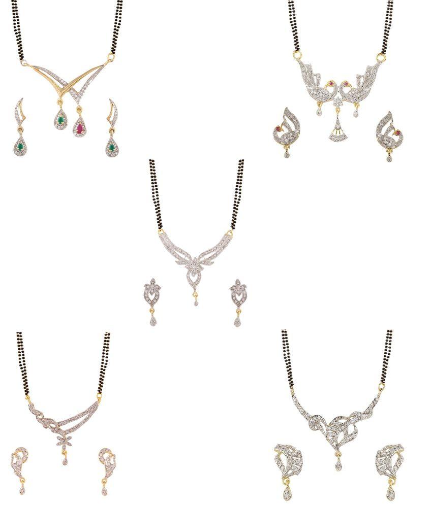 YouBella American Diamond Mangalsutra & Earrings - Set of 5