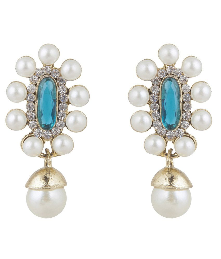 Inaya Blue Brass Polki Drop Earring