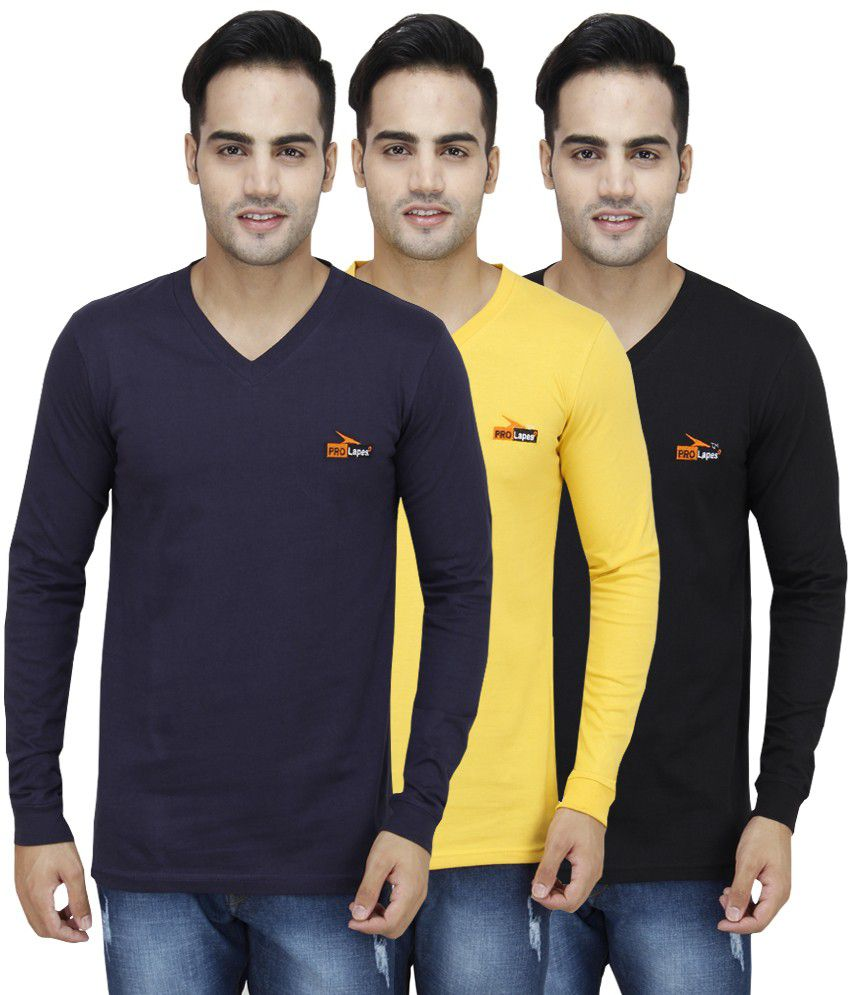 PRO Lapes Multicolor Cotton T - Shirt - Set of 3 By Snapdeal @ Rs.999