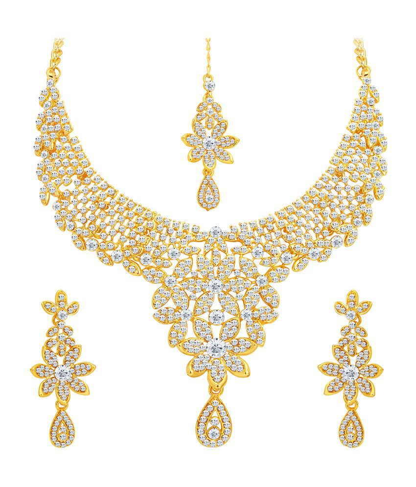 Sukkhi Fascinating Gold Plated Necklace Set with Maang Tika for Women