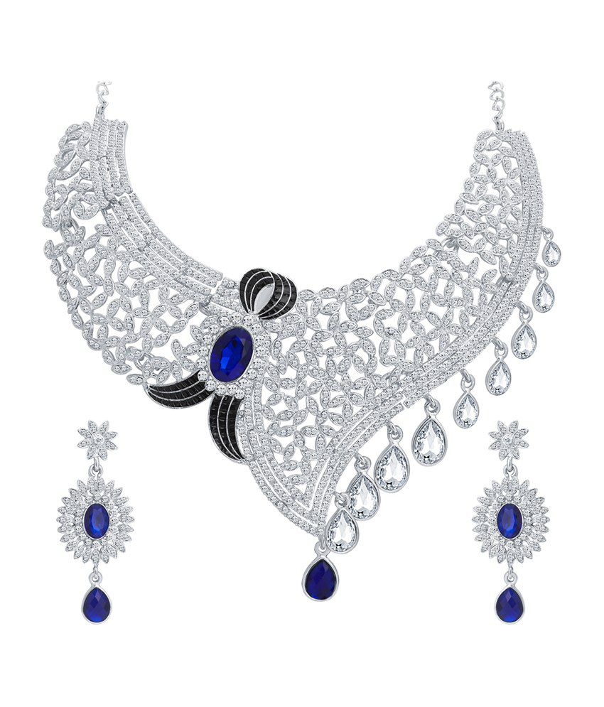 Sukkhi Lavish Rhodium Plated Necklace Set for Women
